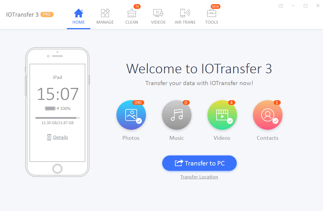 IOTransfer 3 is a powerful iPhone/iPad manager, designed for iPhone, iPad and iPod users to transfer, manage and back up their vital iOS data. IOTransfer 3 supports wireless transfer, iOS system cleaning and video download and convert.